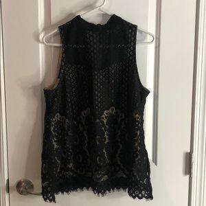 Black lace and tan tank